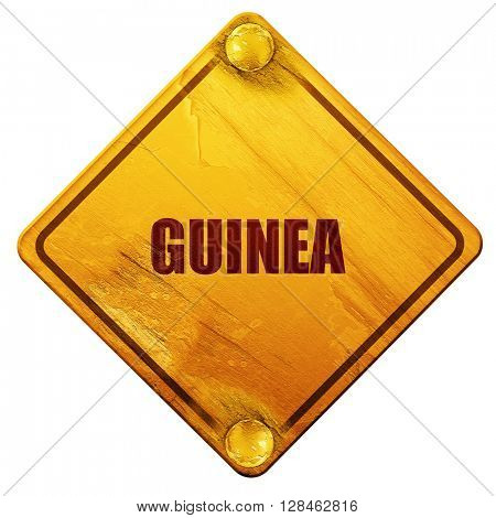 Guinea, 3D rendering, isolated grunge yellow road sign