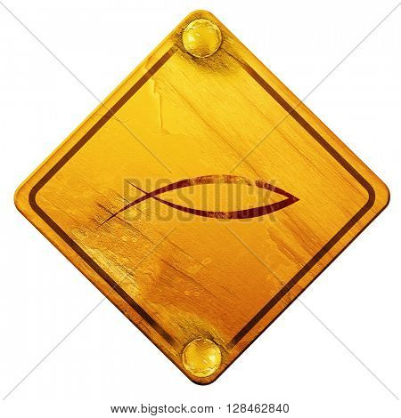 Christian fish symbol, 3D rendering, isolated grunge yellow road