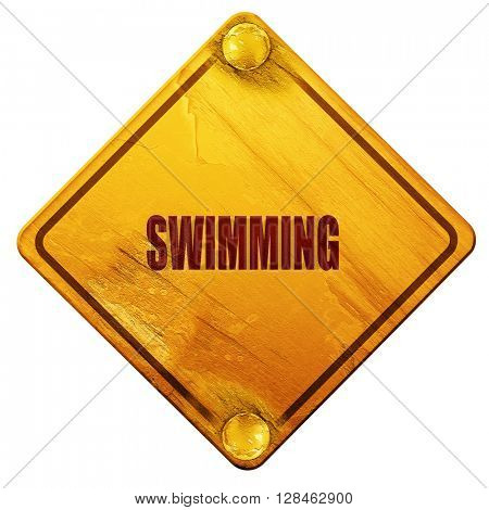 swimming sign background, 3D rendering, isolated grunge yellow r