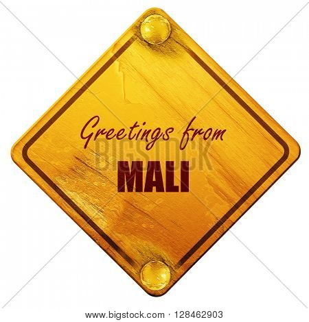 Greetings from mali, 3D rendering, isolated grunge yellow road s