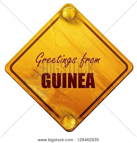Greetings from guinea, 3D rendering, isolated grunge yellow road