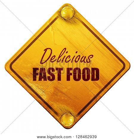 Delicious fast food, 3D rendering, isolated grunge yellow road s