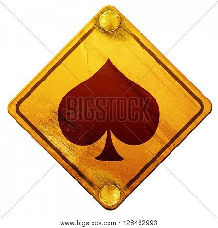 Spade card background, 3D rendering, isolated grunge yellow road