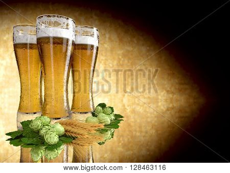 three glasses of beer with barley and hops  - 3D render