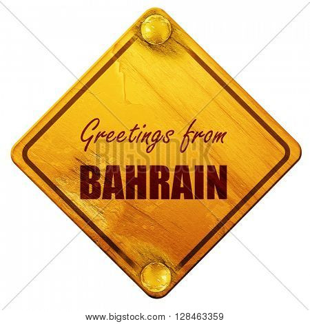 Greetings from bahrain, 3D rendering, isolated grunge yellow roa