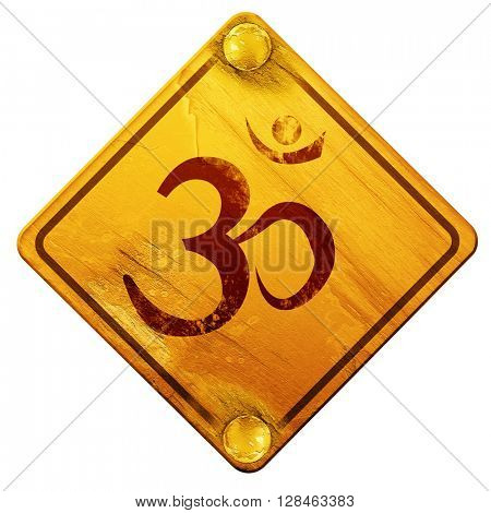 Om sign icon, 3D rendering, isolated grunge yellow road sign