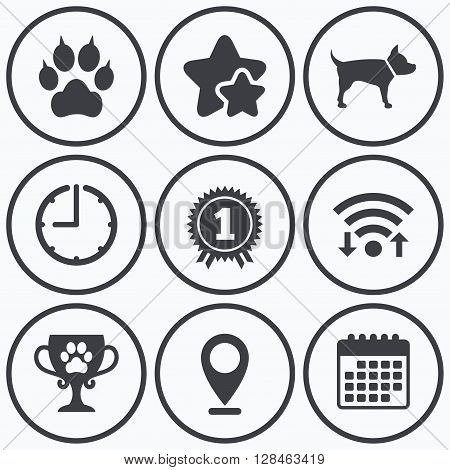 Clock, wifi and stars icons. Pets icons. Cat paw with clutches sign. Winner cup and medal symbol. Dog silhouette. Calendar symbol.