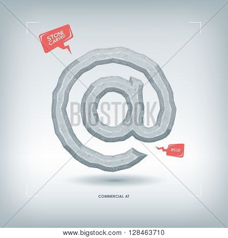 Commercial at symbol. Stone carved typeface element. Vector illustration.