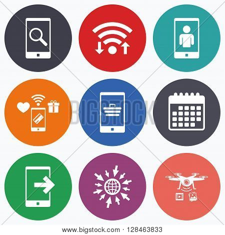 Wifi, mobile payments and drones icons. Phone icons. Smartphone video call sign. Search, online shopping symbols. Outcoming call. Calendar symbol.