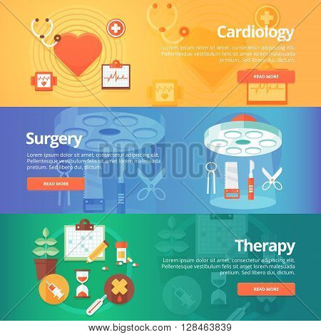 Medical and health banners set. Heart treatment. Cardiology. Surgery. Medical therapy. Modern flat vector illustrations. Horizontal banners.