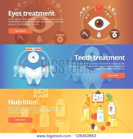 Medical and health banners set. Eye care. Vision treatment. Dentistry. Teeth care. Nutrition. Diet. Modern flat vector illustrations. Horizontal banners.