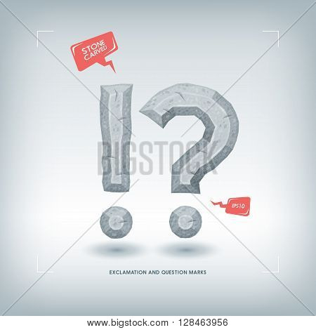 Exclamation and question marks. Stone carved typeface element. Vector illustration.