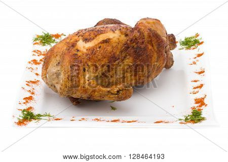 baked fried chicken carcass isolated on white background