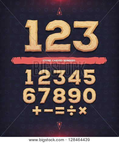 Ancient numerals. Carved digits and mathematical signs. Vector illustration.