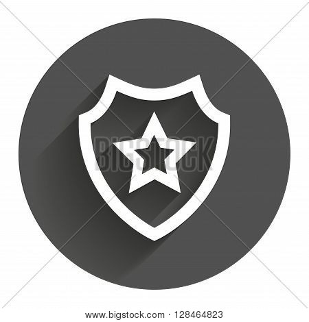 Shield with star icon. Favorite protection symbol. Circle flat button with shadow. Modern UI website navigation.