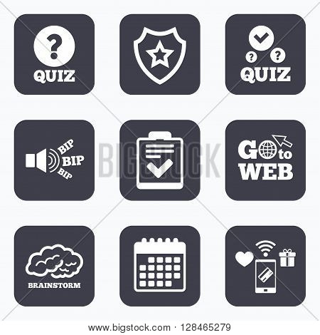 Mobile payments, wifi and calendar icons. Quiz icons. Human brain think. Checklist with check mark symbol. Survey poll or questionnaire feedback form sign. Go to web symbol.