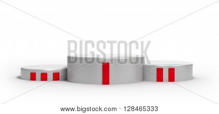 Podium For The Winners Isolated On White Background 3D Render