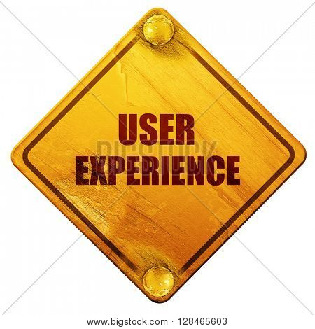 user experience, 3D rendering, isolated grunge yellow road sign