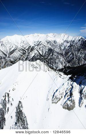 Aerial scenic of snowy Sangre De Cristo Mountains, Colorado, United States in winter.