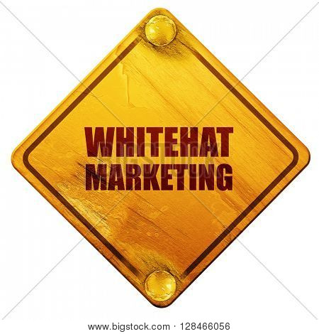 whitehat marketing, 3D rendering, isolated grunge yellow road si
