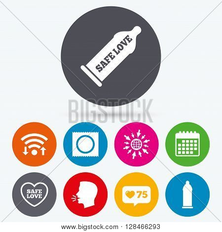 Wifi, like counter and calendar icons. Safe sex love icons. Condom in package symbol. Fertilization or insemination. Heart sign. Human talk, go to web.