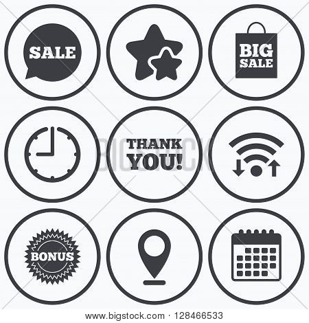 Clock, wifi and stars icons. Sale speech bubble icon. Thank you symbol. Bonus star circle sign. Big sale shopping bag. Calendar symbol.