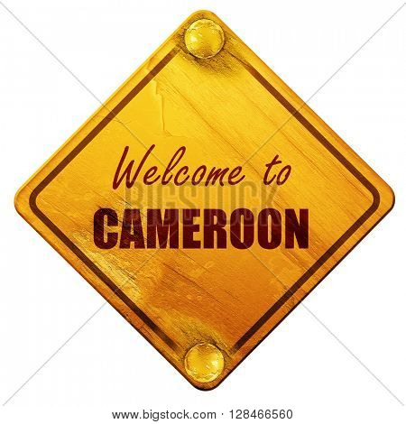 Welcome to cameroon, 3D rendering, isolated grunge yellow road s
