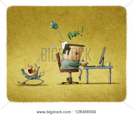 Father working on computer while his baby playing with nipple and knocking it at his head