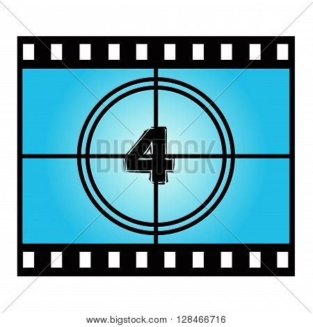 Film Screen Countdown Number Four . Vector Movie Illustration
