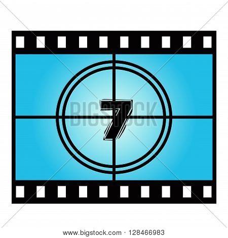 Film Screen Countdown Number Seven. Vector Movie Illustration