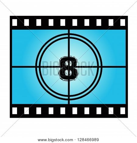 Film Screen Countdown Number Eight. Vector Movie Illustration