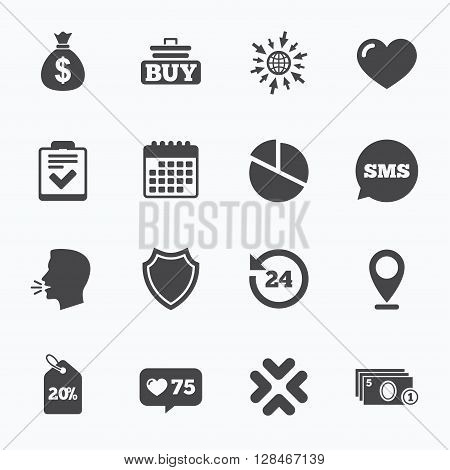 Calendar, go to web and like counter. Online shopping, e-commerce and business icons. Checklist, like and pie chart signs. Money bag, discount and protection symbols. Sms speech bubble, talk symbols.