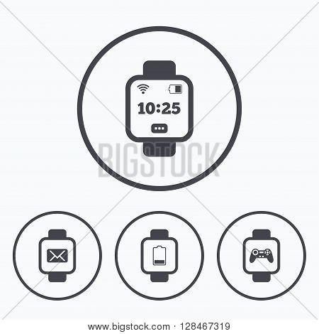 Smart watch icons. Wrist digital time watch symbols. Mail, Game joystick and wi-fi signs. Icons in circles.