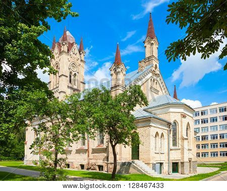 Lutheran church of gothic style  in Grodno city Belarus.