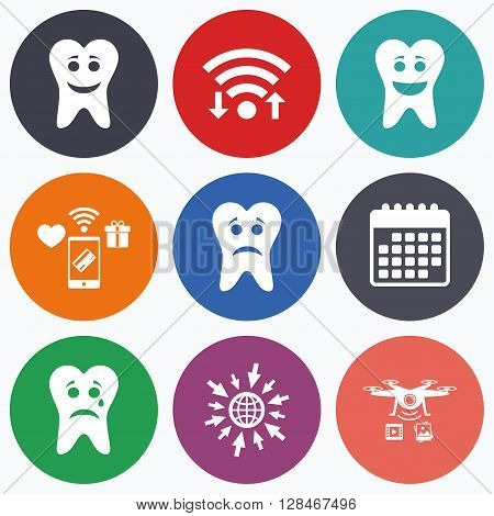 Wifi, mobile payments and drones icons. Tooth smile face icons. Happy, sad, cry signs. Happy smiley chat symbol. Sadness depression and crying signs. Calendar symbol.