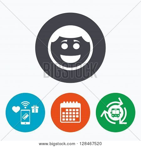 Smile face sign icon. Happy smiley with hairstyle chat symbol. Mobile payments, calendar and wifi icons. Bus shuttle.