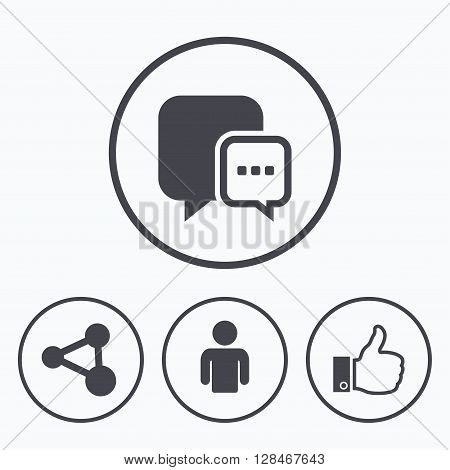 Social media icons. Chat speech bubble and Share link symbols. Like thumb up finger sign. Human person profile. Icons in circles.