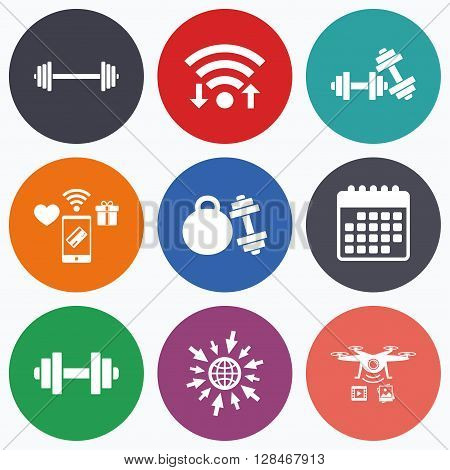 Wifi, mobile payments and drones icons. Dumbbells sign icons. Fitness sport symbols. Gym workout equipment. Calendar symbol.