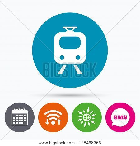 Wifi, Sms and calendar icons. Subway sign icon. Train, underground symbol. Go to web globe.