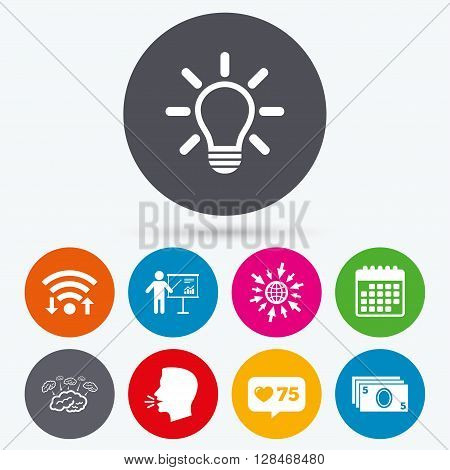 Wifi, like counter and calendar icons. Presentation billboard, brainstorm icons. Cash money and lamp idea signs. Man standing with pointer. Scheme and Diagram symbol. Human talk, go to web.