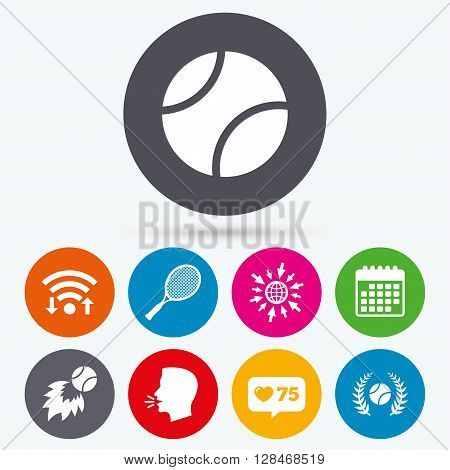 Wifi, like counter and calendar icons. Tennis ball and racket icons. Fast fireball sign. Sport laurel wreath winner award symbol. Human talk, go to web.