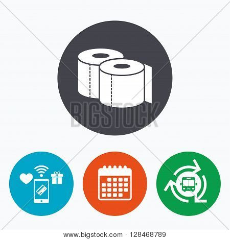 Toilet papers sign icon. WC roll symbol. Mobile payments, calendar and wifi icons. Bus shuttle.