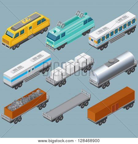 Isometric Railroad Train. Vector Include Retro Locomotive, Oil Tank, Refrigerated Van, Freight Flat Wagon, Box Car.