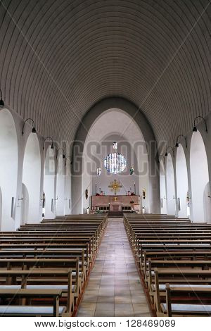 KLEINOSTHEIM, GERMANY - JUNE 08: Saint Lawrence church in Kleinostheim, Germany on June 08, 2015.