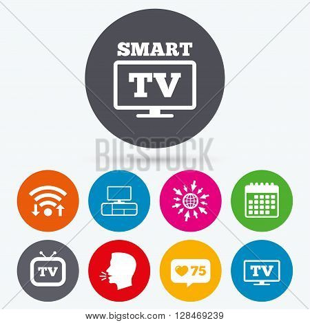 Wifi, like counter and calendar icons. Smart TV mode icon. Widescreen symbol. Retro television and TV table signs. Human talk, go to web.