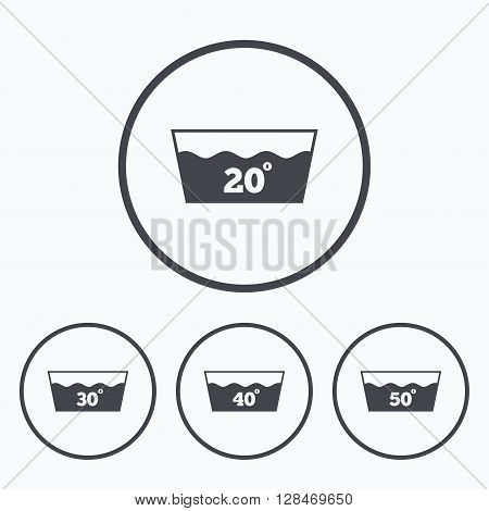 Wash icons. Machine washable at 20, 30, 40 and 50 degrees symbols. Laundry washhouse signs. Icons in circles.