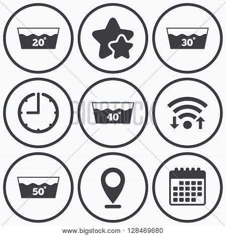 Clock, wifi and stars icons. Wash icons. Machine washable at 20, 30, 40 and 50 degrees symbols. Laundry washhouse signs. Calendar symbol.