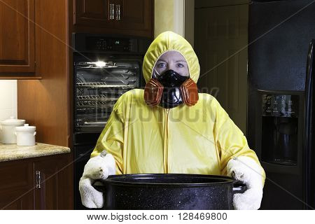 Kitchen Disaster In Kitchen With Hazmat Suit