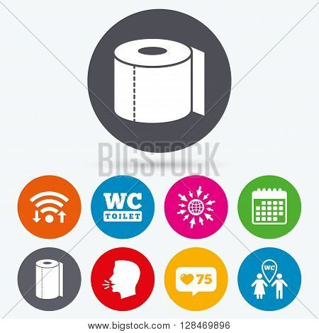Wifi, like counter and calendar icons. Toilet paper icons. Gents and ladies room signs. Paper towel or kitchen roll. Man and woman symbols. Human talk, go to web.