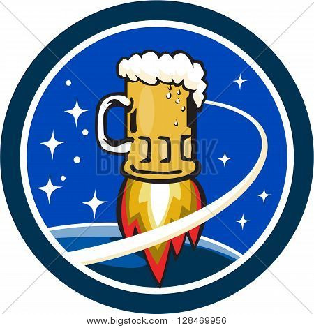 Illustration of a beer mug with rocket burners blasting off to space with stars and planet in the background set inside circle done in retro style.